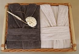 2 Męskie Szlafroki Bonjour w Ozdobnym Koszu na Prezent Greno L krem, L czekolada