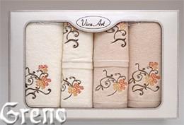 6 Ręczników Haftowanych w Ozdobnym Pudełku Viva Art VI Greno beż, bławatek