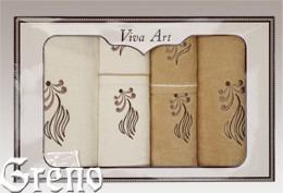 6 Ręczników Haftowanych w Ozdobnym Pudełku Viva Art VI Greno beż, sweet