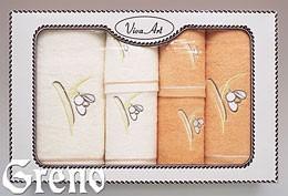 6 Ręczników Haftowanych w Ozdobnym Pudełku Viva Art VI Greno honey, przebiśnieg