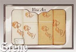 6 Ręczników Haftowanych w Ozdobnym Pudełku Viva Art VI Greno żółty, deco