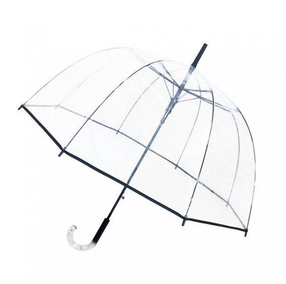 Długi parasol przezroczysty kopuła, czarna bordiura
