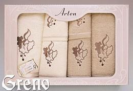 Komplet 6 Ręczników Haftowanych w Ozdobnym Pudełku na Prezent Arten VI Greno beż, dzwoneczek