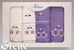 Komplet 6 Ręczników Haftowanych w Ozdobnym Pudełku na Prezent Arten VI Greno lila, secesja