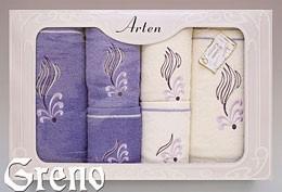 Komplet 6 Ręczników Haftowanych w Ozdobnym Pudełku na Prezent Arten VI Greno lila, sweet