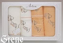 Komplet 6 Ręczników Haftowanych w Ozdobnym Pudełku na Prezent Arten VI Greno pomarańcz, deco