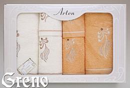 Komplet 6 Ręczników Haftowanych w Ozdobnym Pudełku na Prezent Arten VI Greno pomarańcz, sweet