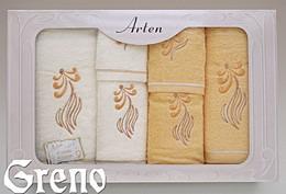 Komplet 6 Ręczników Haftowanych w Ozdobnym Pudełku na Prezent Arten VI Greno żółty, sweet