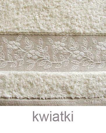 """Komplet Linen 2 Ręczniki (30x50cm i 70x140cm) + Szlafrok Rozmiar """"L"""" GRENO kwiatki"""