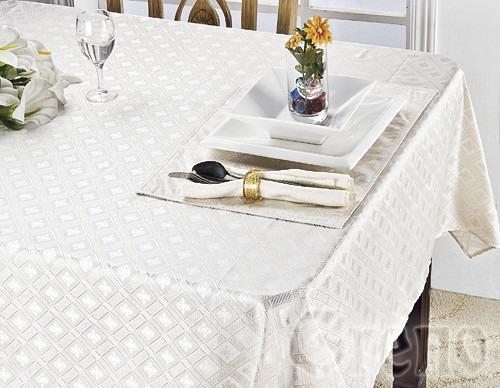 Komplet obrus DIAMOND i 4 podkładki na stół Greno kremowy
