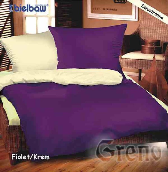 Pościel satynowa Bielbaw kremowo-fioletowy